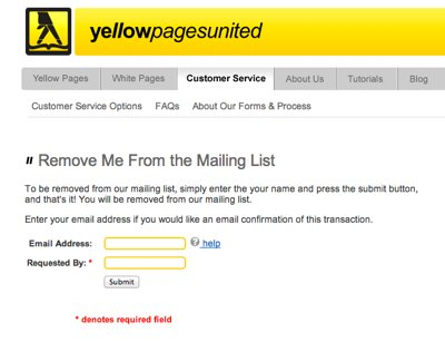 Yellow Pages United Do Not Mail List Email